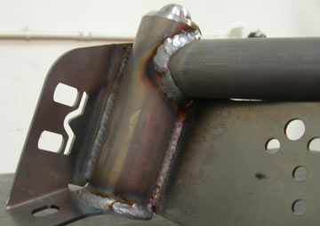 Close up view of a welded tube fender