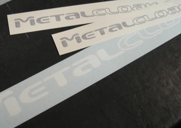 Black and white MetalCloak decals included in box