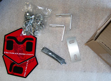 Metalcloak stickers, brackets, bolts, and other hardware