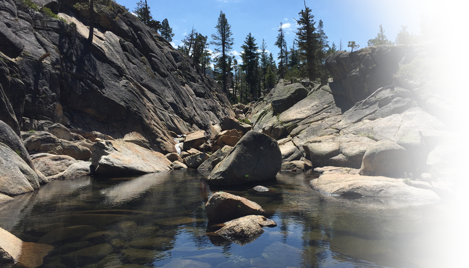 A nature scene with a granite cliff, water, boulders, and trees