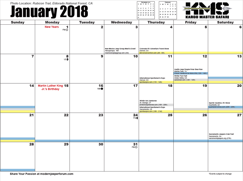 the 2018 sidekick off road event calendar has the twelve full color photos pictured below and over 150 off road events including contact information from