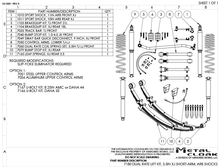7180 XJ Suspension Build Sheet