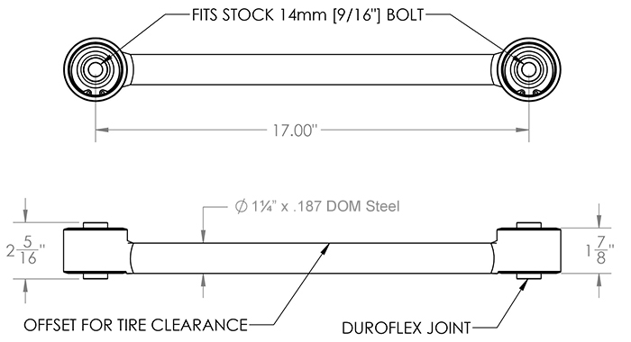 8002 Dodge Upper Control Arm specs