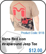 Mens Red Icon Wraparound Jeep Tee