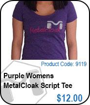 Purple Womens MetalCloak Script Tee