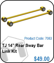 TJ 14in Rear Sway Bar Link Kit