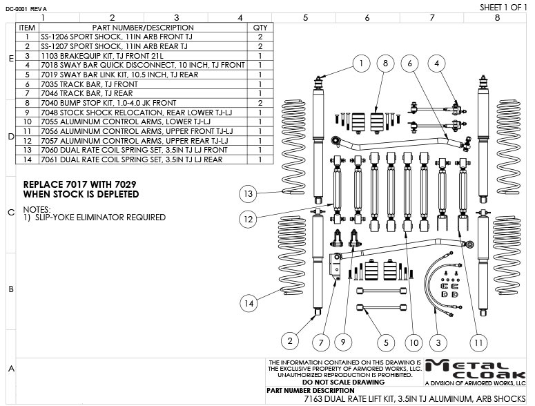 TJ Suspension Build Sheet